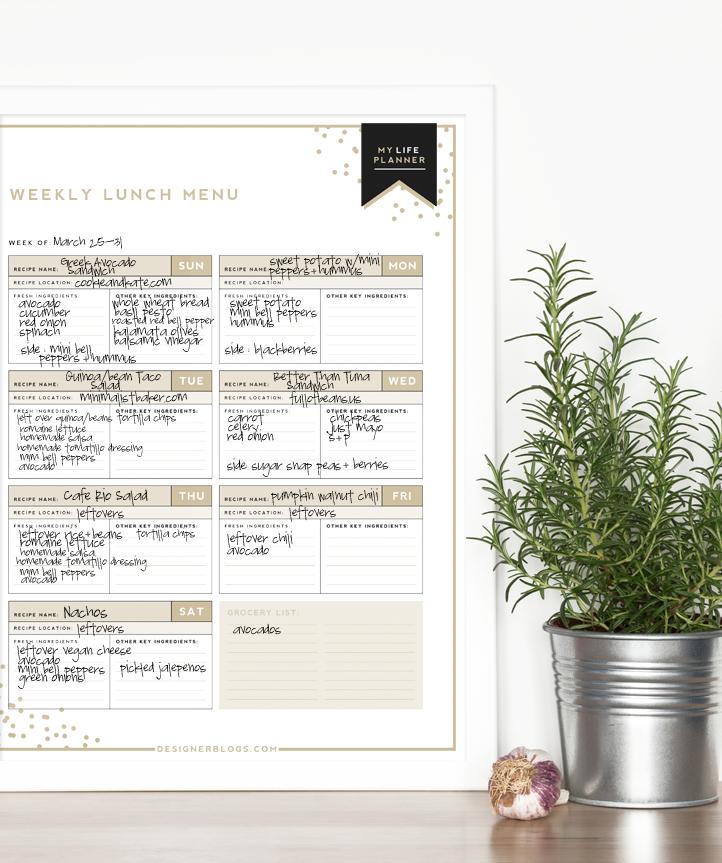 Weekly Lunch Menu | Designer Blogs