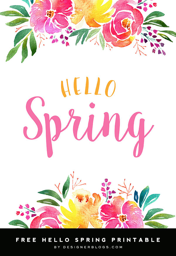 graphic regarding Printable Spring Pictures referred to as Hello there Spring Free of charge 8x10 Printable Totally free Printable - Designer