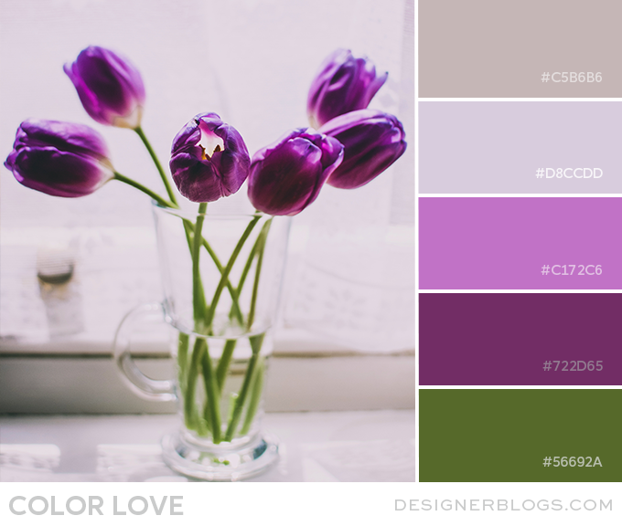 green, purple, & taupe color palette