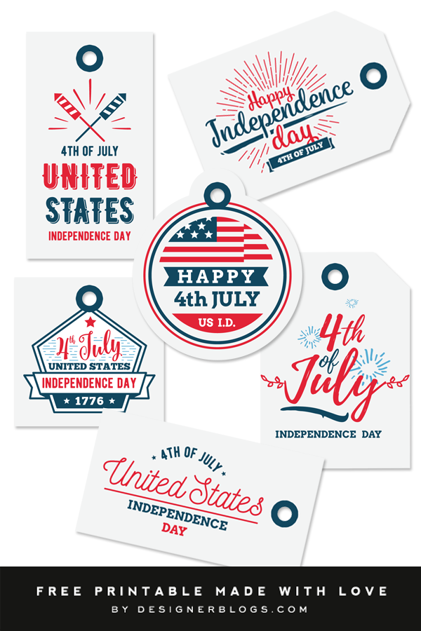 4th of July Gift Tags - Free Printable