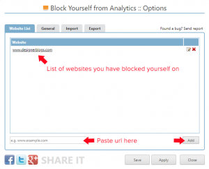 block yourself from analytics options