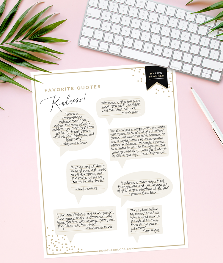 Favorite Quotes planner printable