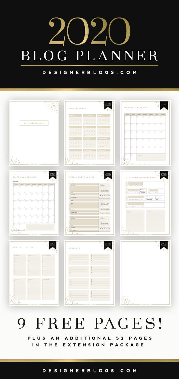 2020 Free Blog Planner Example Pages