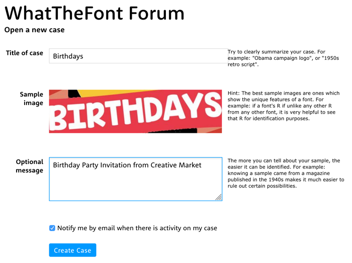 how to find the name of a font - open a new case