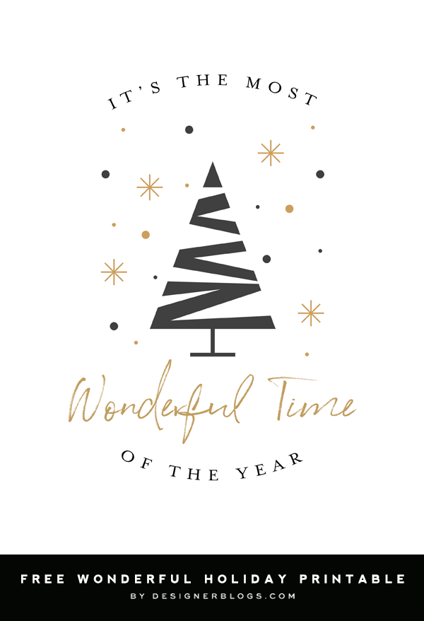 Free Printable Christmas Decoration - Most Wonderful Time of the Year Poster