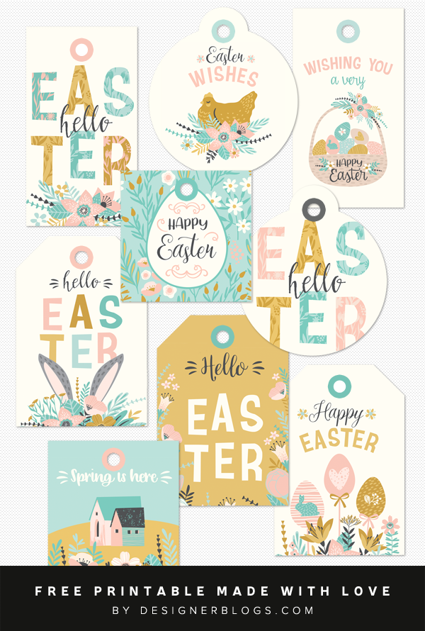 It is a photo of Free Printable Easter Tags regarding name