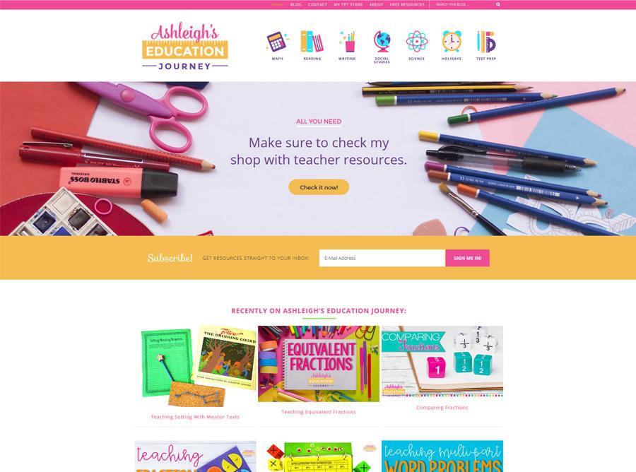 Ashleigh's Education Journey - Custom website design