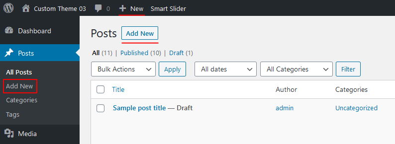 Creating  apost in wordpress - adding new post