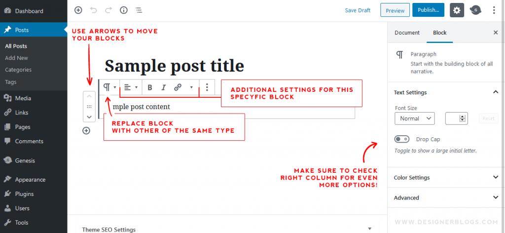 Managing wordpress post blocks