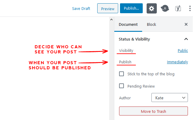 Publish and Visibility post creation option