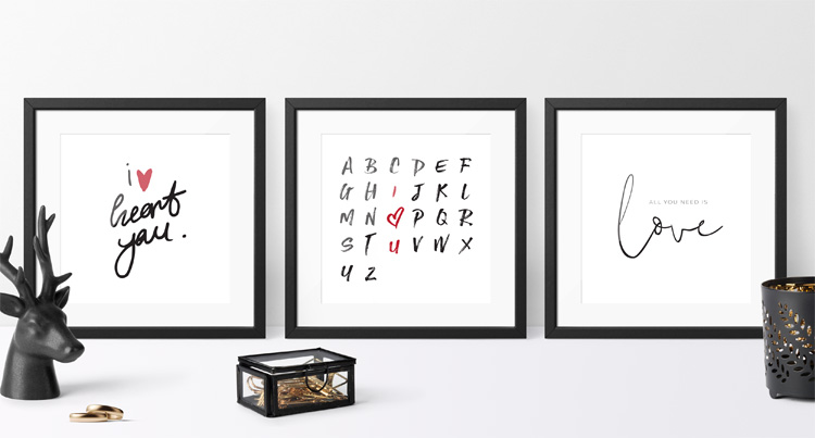 Free Love Printable in three different versions