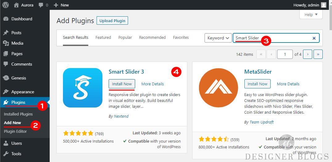 Smart Slider 3 set-up step one - installing a wordpress plugin
