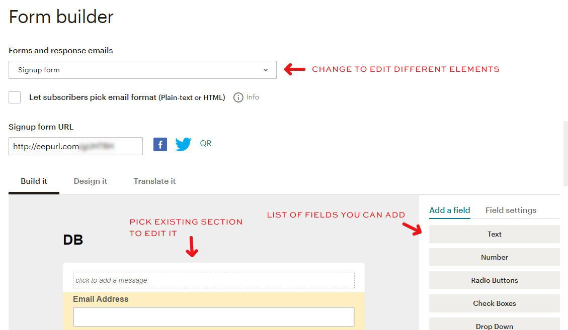How to use Mailchimp form builder to create a mailing list you need.
