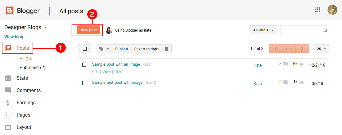 Create a post in blogger by using your blogger dashboard