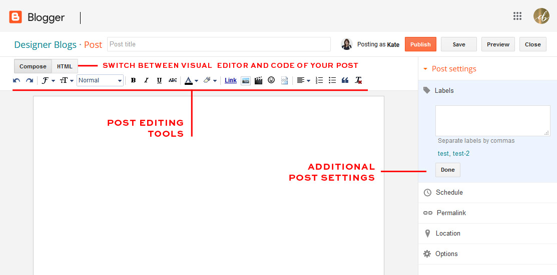 Post editing tools in blogger dashboard