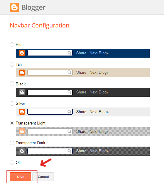 Blogger Navbar color and style options