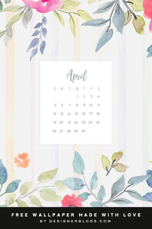 Free April Wallpaper full of watercolor flowers