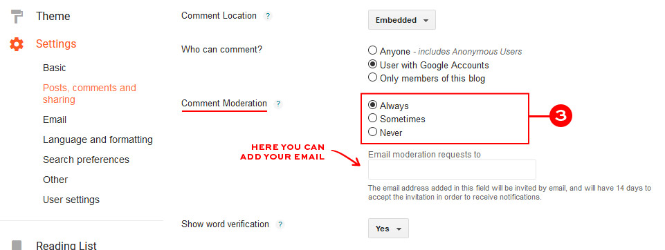 Change comments settings to moderate them