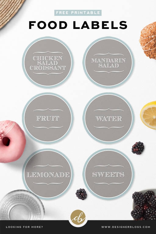 Free Food Labels Printable in six different versions.