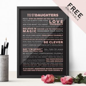 Free Rules for Daughters Printable