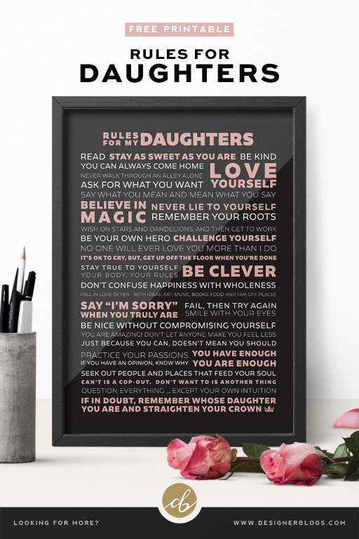 Rules for Daughters Printable Poster ready for download