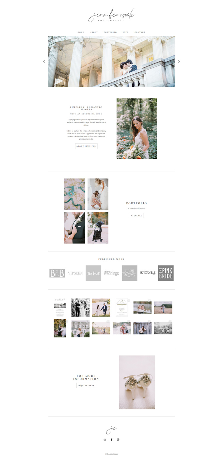 Full view of Custom Website Design Created for Jennifer Crook Photography