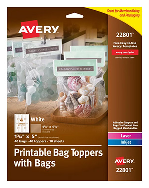 Avery Printable Bag Toppers with Bags