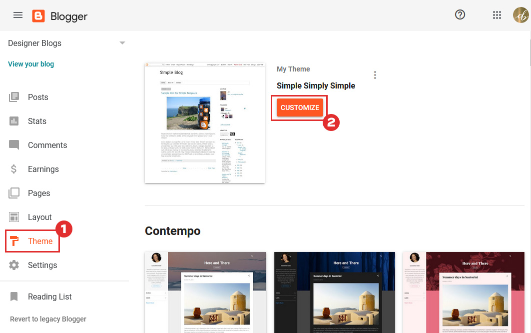 Changing layouts in blogger dashboard