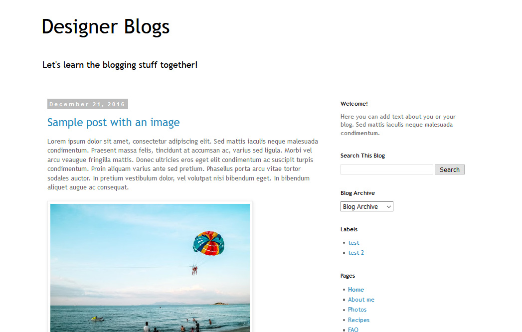 Simple blogger layout