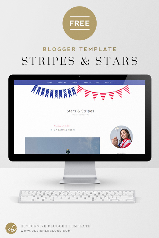 Free Customizable Blogger Template called Stars & Stripes features red, white & blue flag bunting