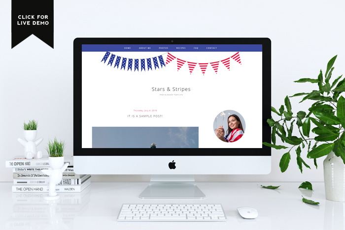 Preview of red-blue free blogger template