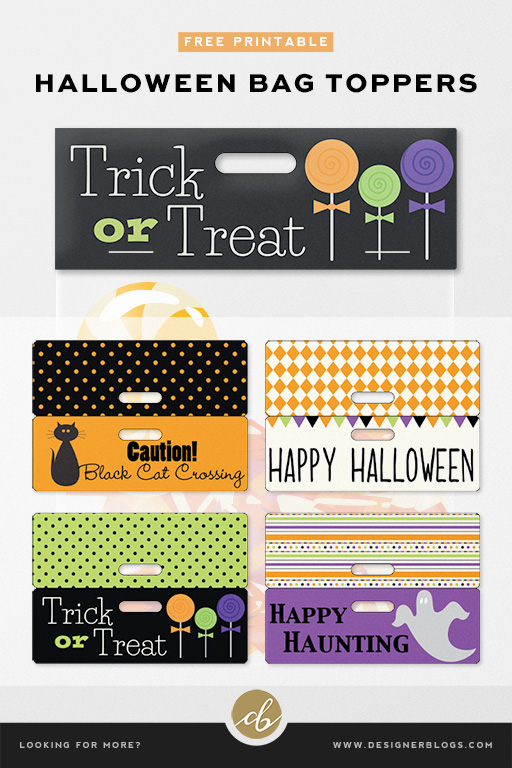 Free Halloween Bag Toppers ready for download! Four differen versions available!