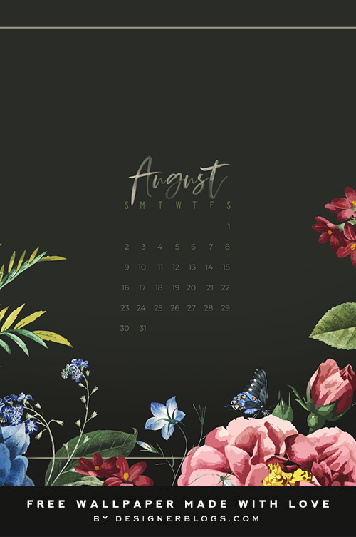 Free August Wallpaper featuring colorful flowers.