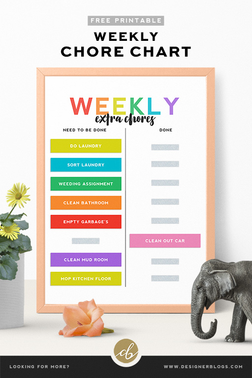 Free Weekly Chore Chart Printable - ready for download!
