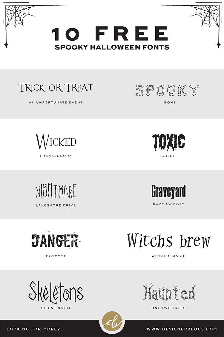List of 10 Free Spooky Halloween Fonts ready for Download