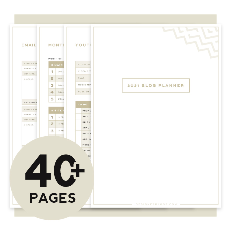 the Best Printable Blog Planner 2021 in classic colors
