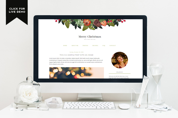 Preview of Free Holiday Blogger Template with a gorgeous rustic holiday wreath embellishment