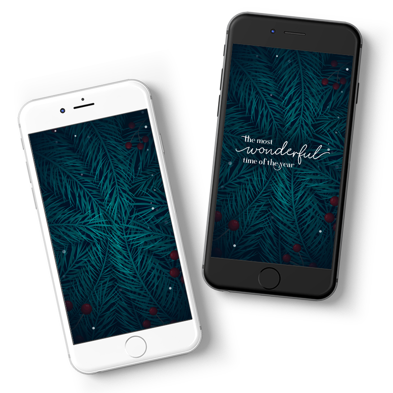 Mobile layouts for a free December 2020 Wallpaper