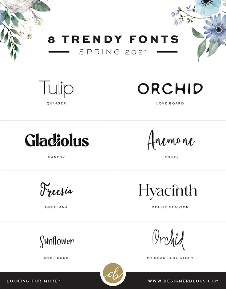 8 Best Trendy Fonts 2021 - Perfect for all the Spring Crafts.
