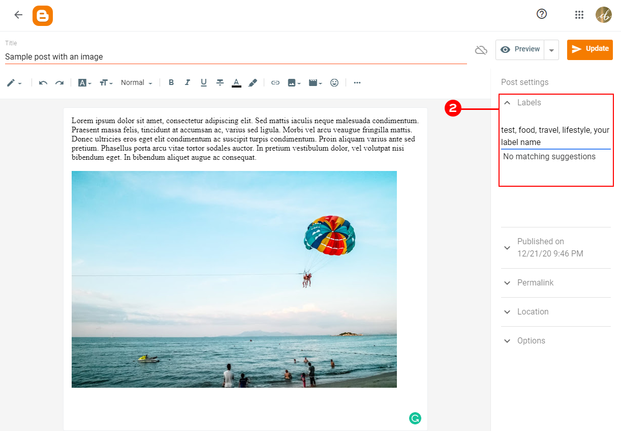 Adding your labels to the Blogger Post