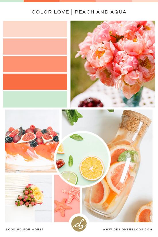 Peach & Aqua Color Palette - Orange, Mint & Red