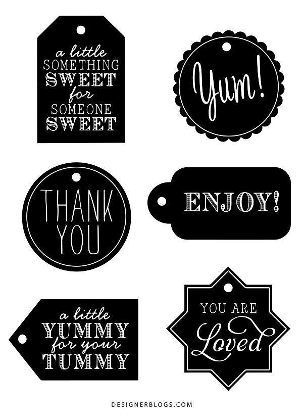 Preview of the Free Black & White Gift Tags Printable