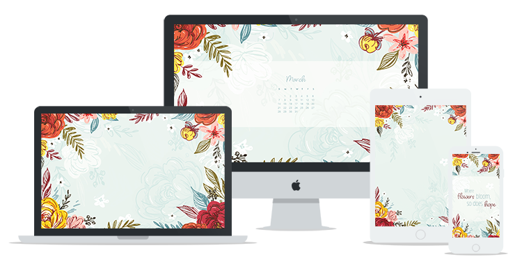Colorful Free March Wallpaper featuring hand-drawn flowers