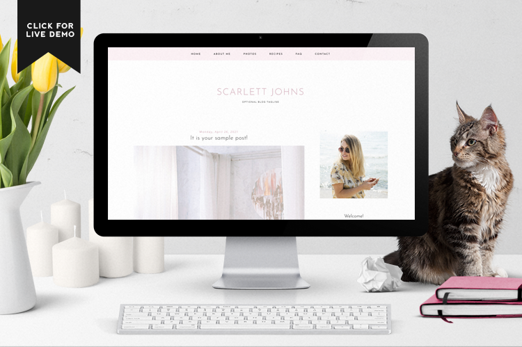 Scarlett is a responsive, pink blogger template that is clean, modern, and simple.