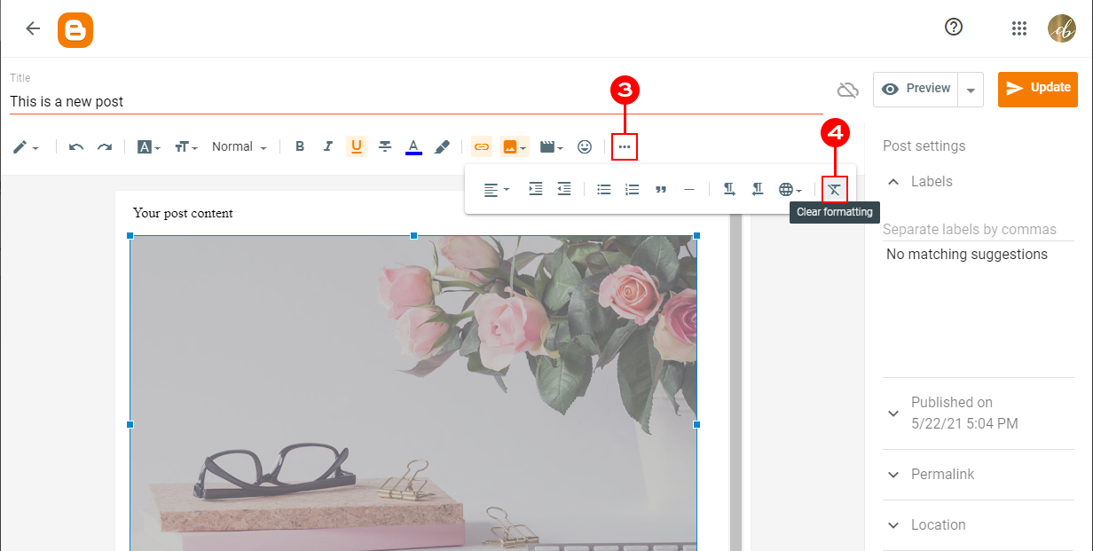 Removing link from the blogger image