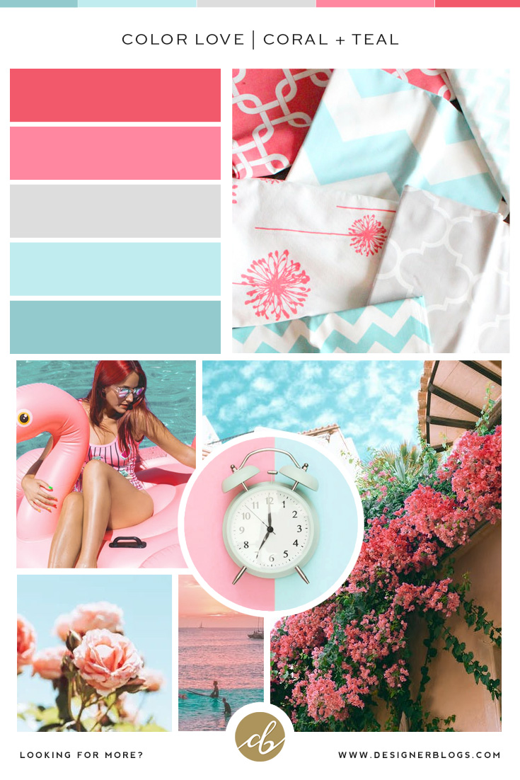 Coral and Teal Color Palette - Pink, Grey, Blue