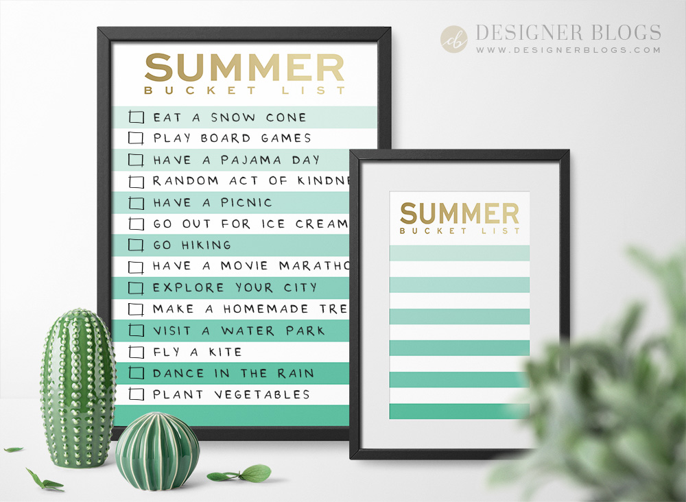 Summer Bucket List Printable in two different sizes