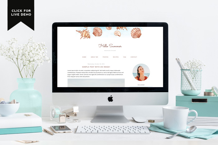 Preview of Free Summer Blogger Template with a gorgeous shell drawings.
