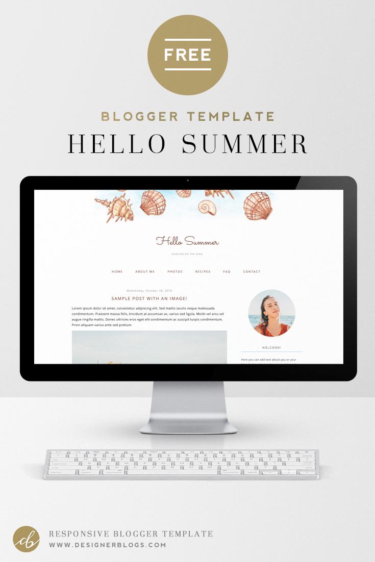 Hello Summer | Free Summer Blogger Template