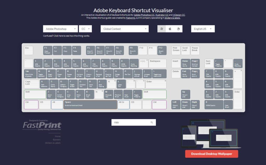 Keyboard Shortcut Cheat Sheet For Adobe